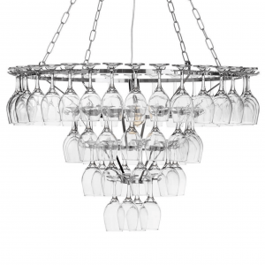 Four Tier 60 Wine Glass Chandelier – Chrome