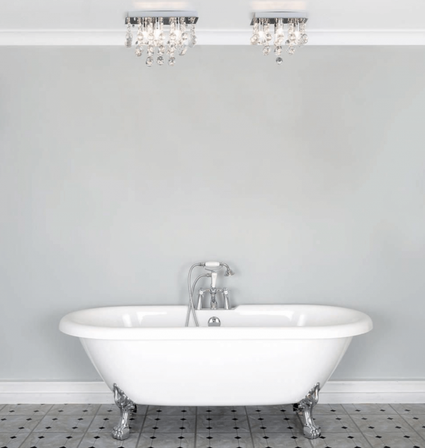 Orlando Bathroom Square Flush Ceiling Light