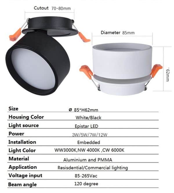Super Sleek Foldable and Rotatable LED Ceiling Spotlight 3